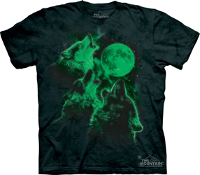 Three Moon Wolf Tee Shirt, Glows in the Dark!