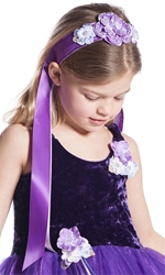 Velvet Pansy Ribbon Headbands