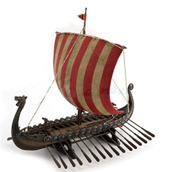Viking Sail Boat With Red & White Striped Sails