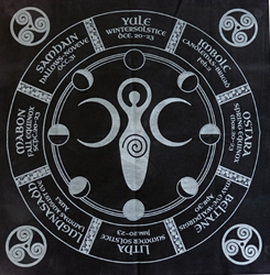 Wheel of The Wiccan Year Altar Cloth with Triple Moon Goddess and Sabbats Wheel of The Wiccan Year Altar Cloth with Triple Moon Goddess and Sabbats, altar cloth, altar tool, witchcraft tools, Omaha witchcraft