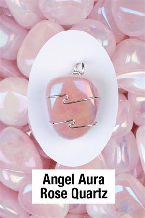 Angel Aura Rose Quartz Pendant  Love energies of the Angelic realm