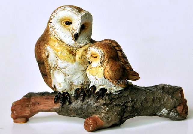 Barn Owl with Baby on Branch