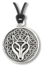 Celtic Wisdom Wolf Pendant  Inscribed on back: The power within me is greater than any fear before me