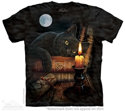 Cat T-Shirt with The Witching Hour design by by Nemesis Now Artist  Lisa Parker  Cat T-Shirt with The Witching Hour design by by Nemesis Now Artist  Lisa Parker, black cat with book of shadows tee shirt, black cat triquetra