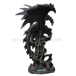 Large Dragon Protecting Castle Figurine