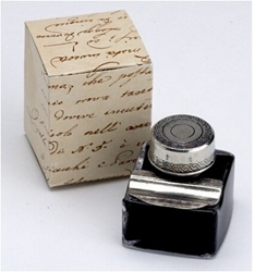 Decorative Inkwell with Pen Rest and Ink
