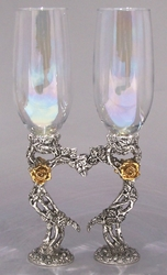 Rose Heart Pewter Wedding Glasses