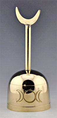 "TRIPLE MOON BRASS ALTAR BELL 023- 5.5""H"