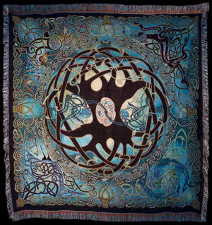 TREE OF LIFE MANDALA TAPESTRY THROW by Artist Jen Delyth