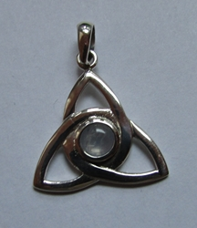 Lovely Triquetra Sterling Silver Pendant w/ Moonstone