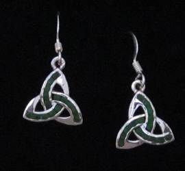 Sterling Silver Triquetra with Green Crystals Dangle Earring