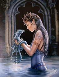 Water Dragon Canvas Art Print by Anne Stokes Water Dragon Canvas Art Print by Anne Stokes, Woman with Dragon in Water
