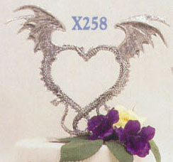 Dragon Heart Pewter Cake Topper