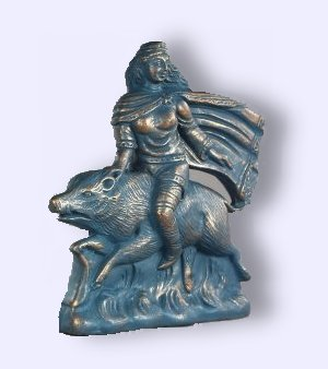 Freya on Boar Statue 7""