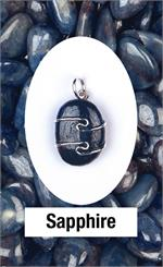 Sapphire Wire Wrap Pendant Awareness, discipline, inner strength